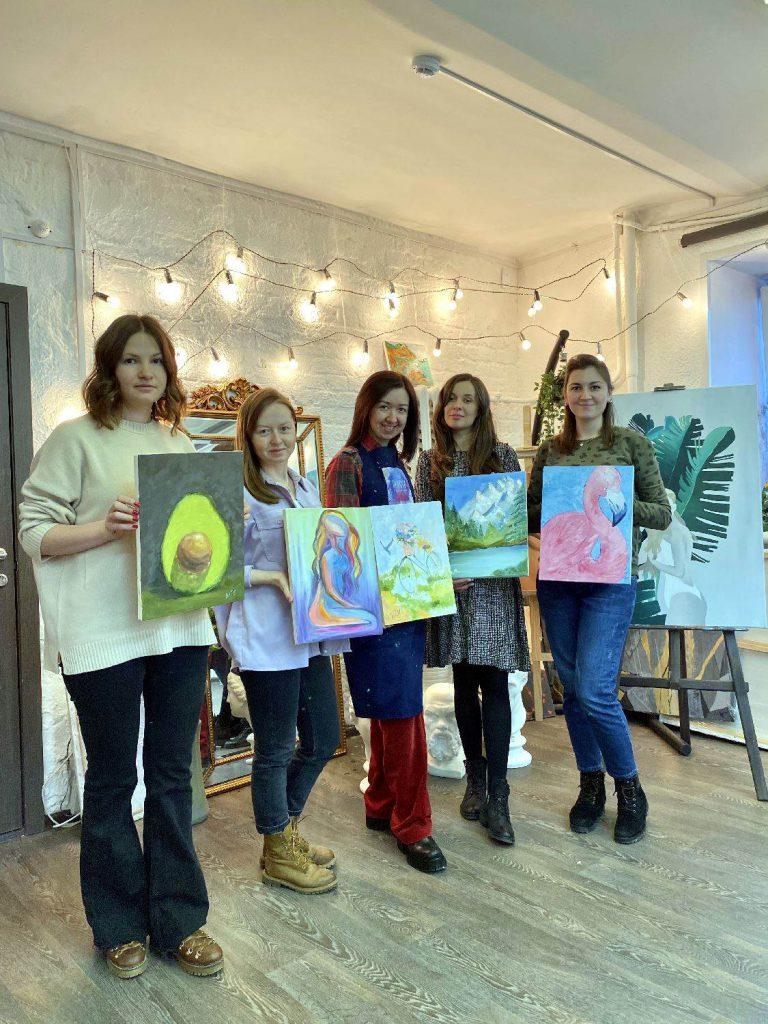 Работы учеников с мастер-класса по живописи маслом