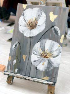 Красивая картина цветов, нарисованная на МК