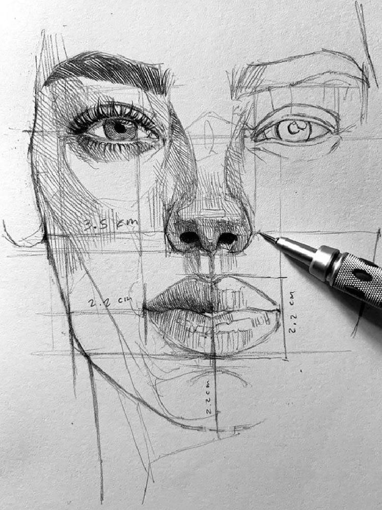 Научитесь изображать лица людей с нашим авторским курсом по рисованию портретов.