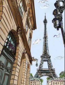 городской скетчинг эйфелева башня