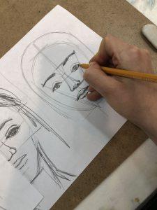 Результаты ученика после курса рисования портрета 1